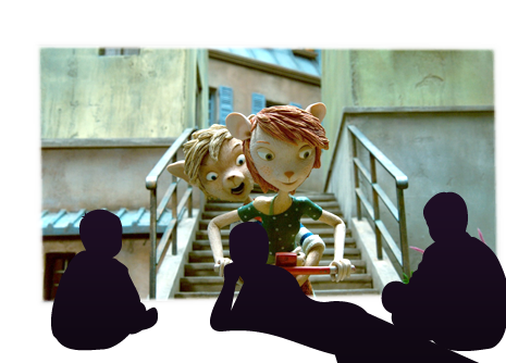 3 kids sitting in front of a screen watching a nice animation